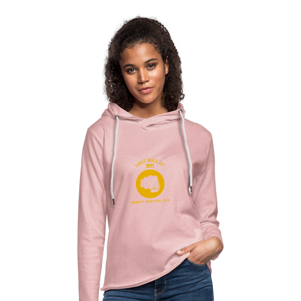 First rule of 2021 Unisex Lightweight Terry Hoodie - cream heather pink