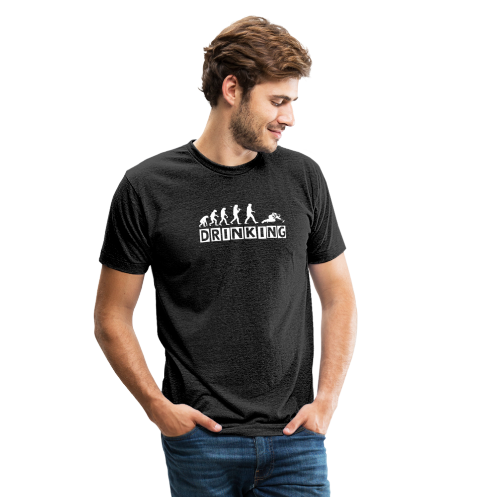 The evolution of drinking Unisex Tri-Blend T-Shirt - heather black
