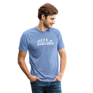 The evolution of drinking Unisex Tri-Blend T-Shirt - heather Blue
