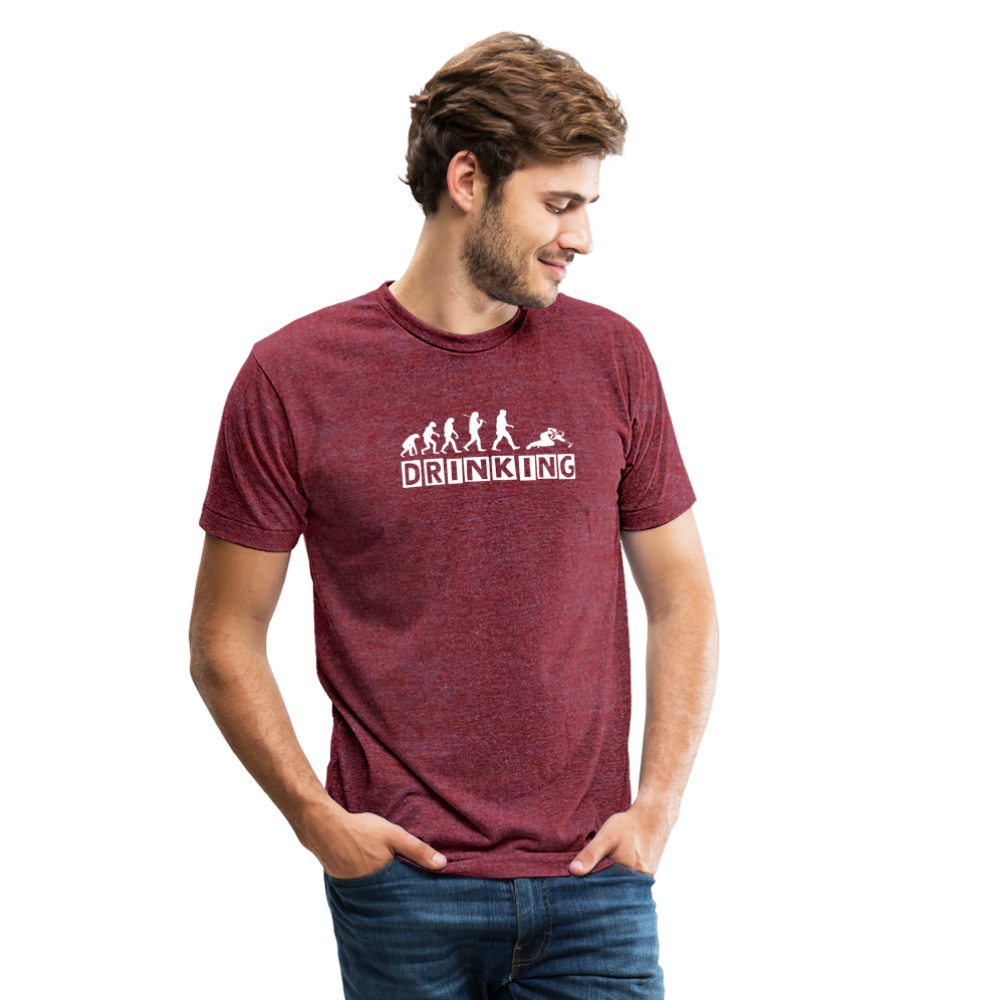 The evolution of drinking Unisex Tri-Blend T-Shirt - heather cranberry