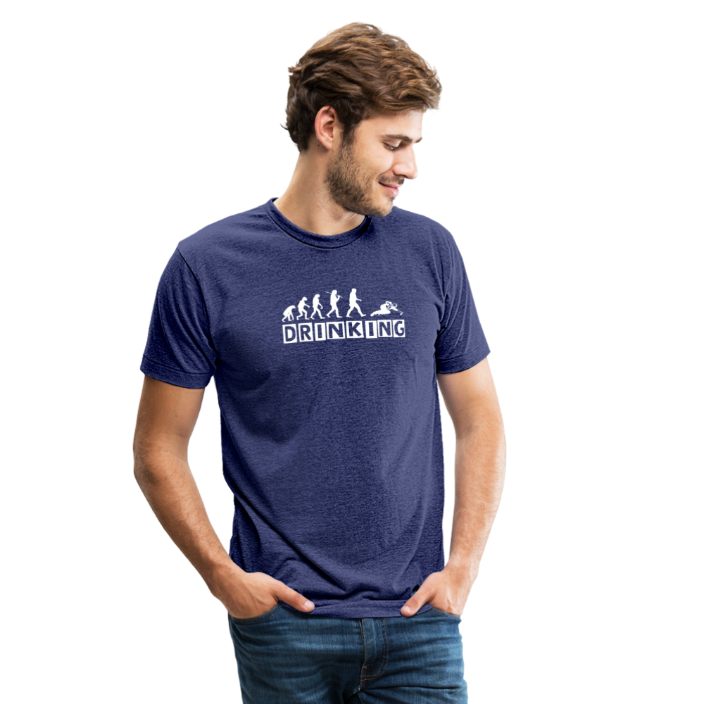 The evolution of drinking Unisex Tri-Blend T-Shirt - heather indigo