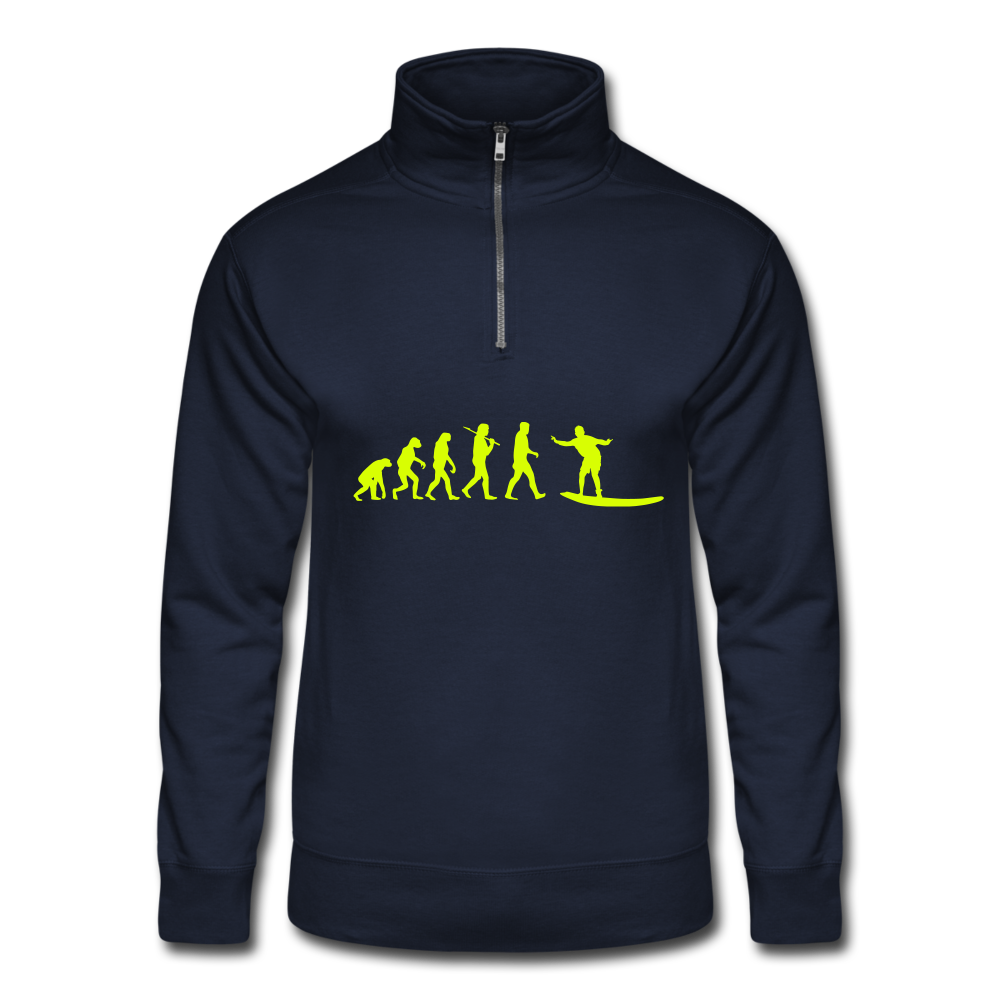 Evolution of surfing unisex Quarter Zip Pullover - navy