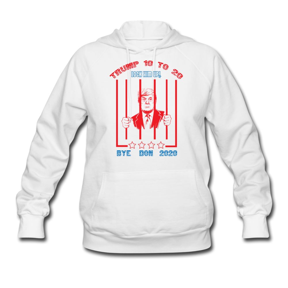 Trump 10 to 20 Lock Him Up Women's Hoodie - white