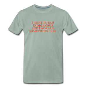 I went to bed indigenous and woke up something else Men's Premium T-Shirt - steel green