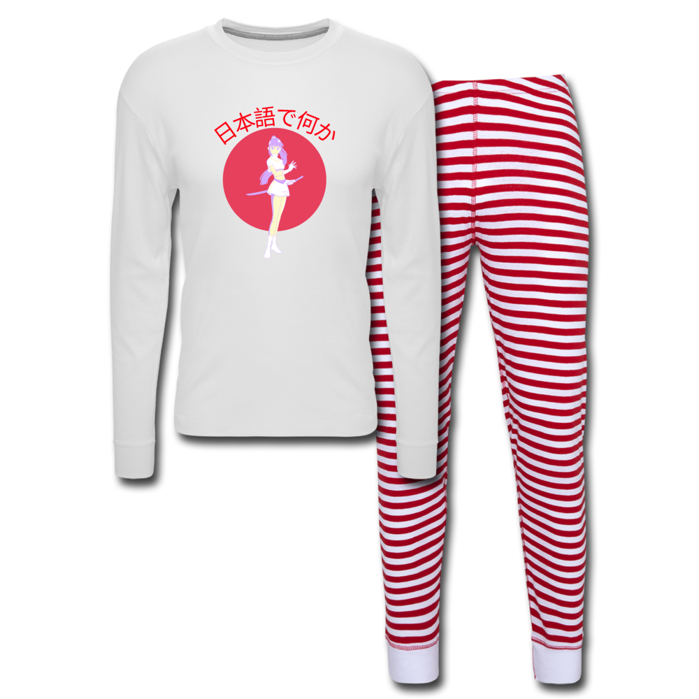 Anime Girl Something in Japanese Unisex Pajama Set - white/red stripe