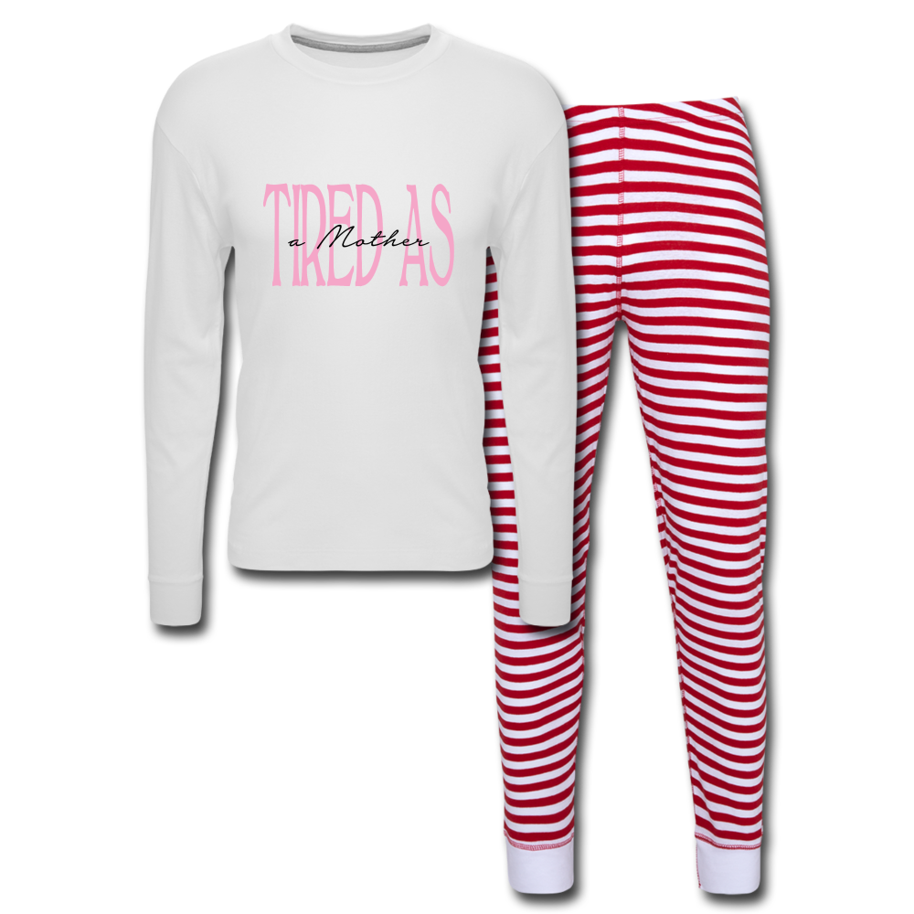 Tired as a Mother Unisex Pajama Set - white/red stripe