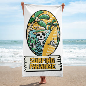 Surfing Paradise Skeleton Beach Towel