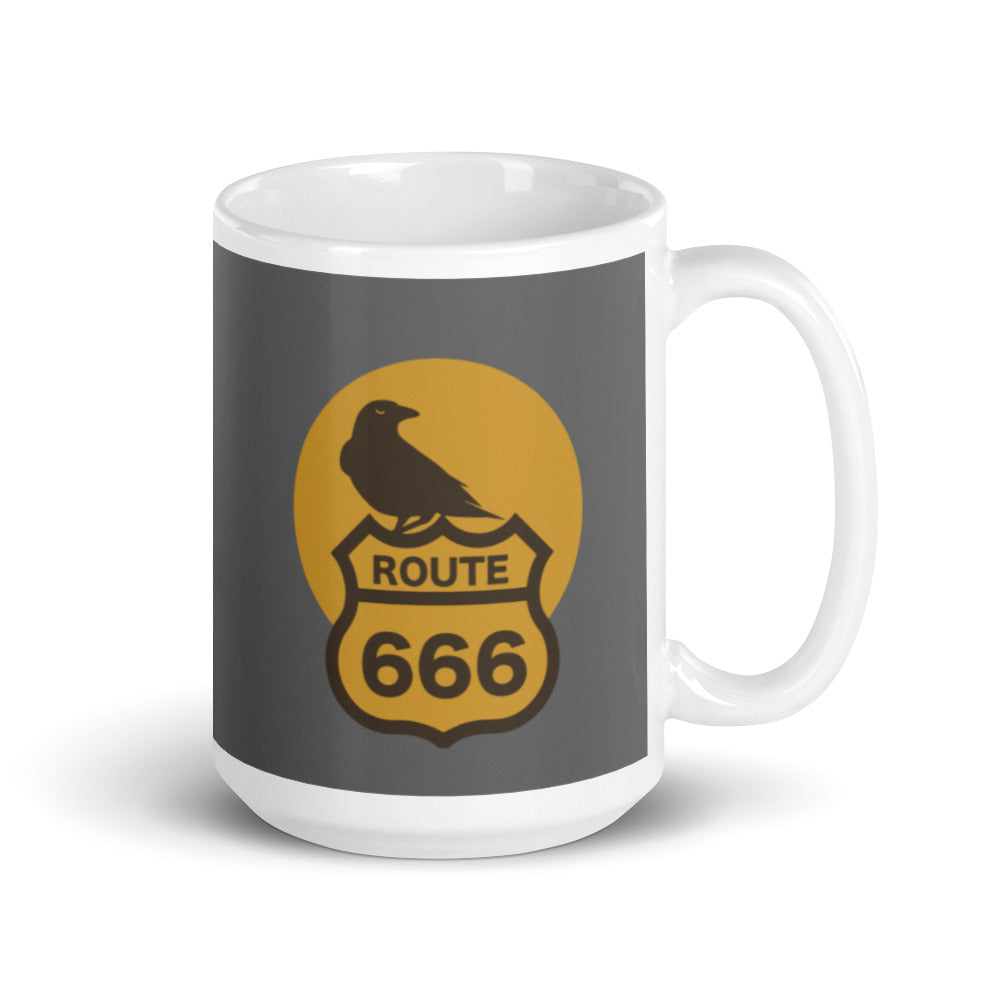 Route 666 Old Crow White glossy mug