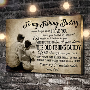 To My Fishing Buddy, Love Dad Canvas