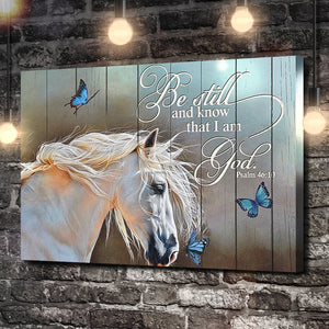 Psalm 46:10 Horse and Butterfly Canvas