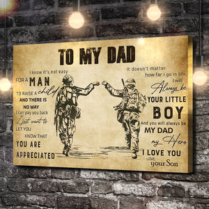 To My Dad, Love Your Son Soldier Canvas
