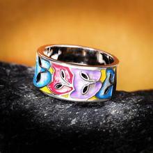 Load image into Gallery viewer, Cat Mask Enamel Silver Ring