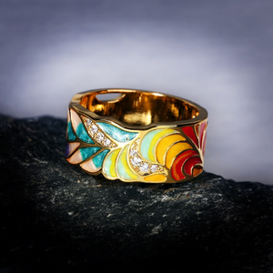 Feather Enamel Gold Ring
