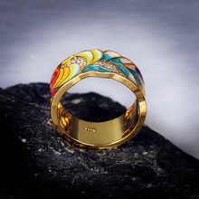 Load image into Gallery viewer, Feather Enamel Gold Ring
