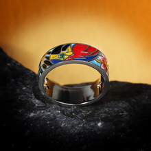 Load image into Gallery viewer, Flower Enamel Silver Ring