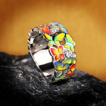 Load image into Gallery viewer, Butterfly Sapphire Silver Ring
