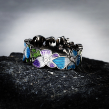Load image into Gallery viewer, Butterfly Flower Enamel Silver Ring