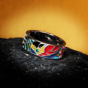 Flower Enamel Silver Ring