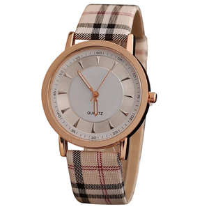 Plaid Rose Gold Women Watch