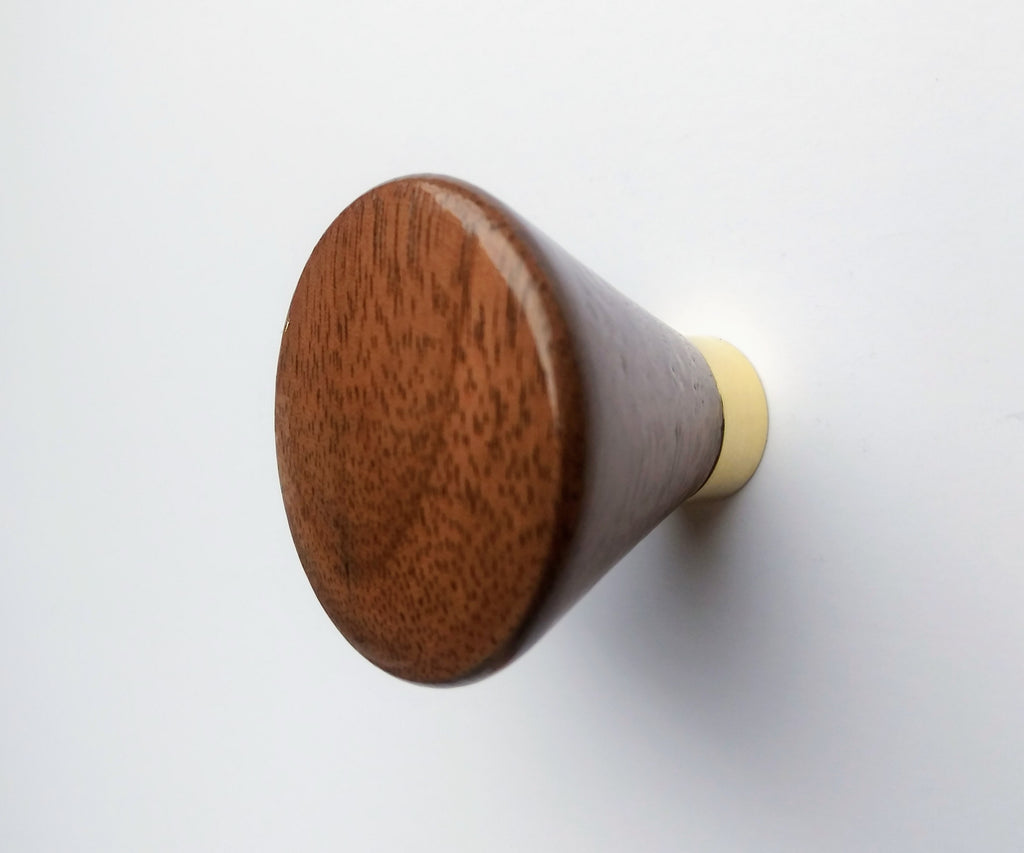 Modern Walnut Cabinet Knob with Polished Brass Post