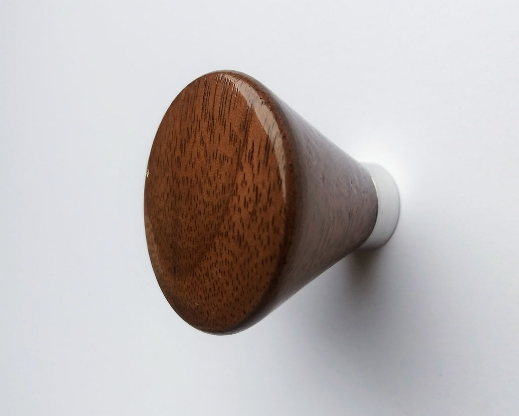 Modern Walnut Cabinet Knob with Polished Aluminum Post