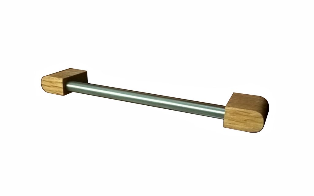 Stainless Steel Cabinet Pull with Oak Wood Post Ends