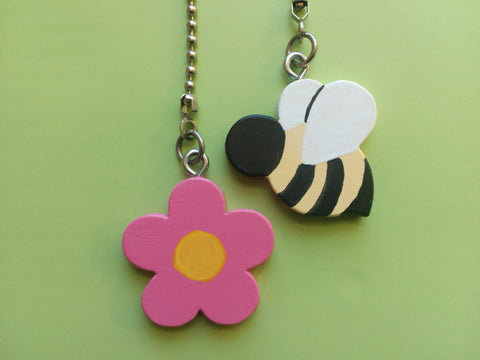 Bumble Bee and Flower Ceiling Fan Chain Pull Set