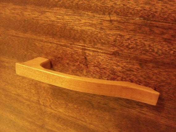 Cherry Wood Cabinet Pull with Downslope Handle