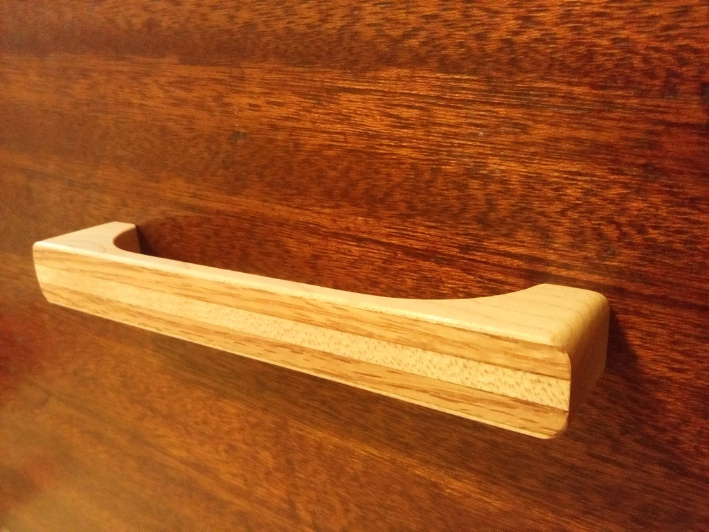 Maple Wood Cabinet Pull with Oak Inlay