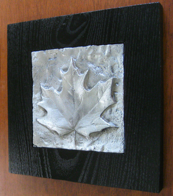 pewter relief sculpture maple leaf black frame