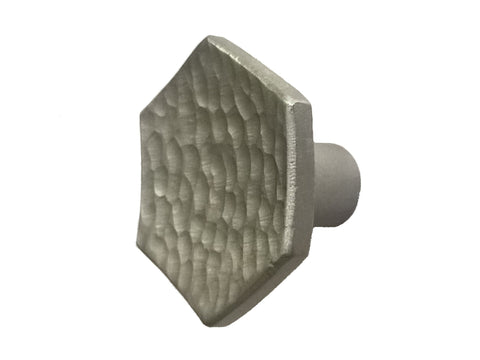 Hammered Hexagon Cabinet Knob with Satin Finish