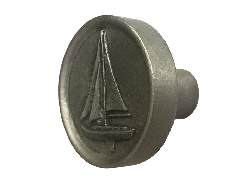 Round Pewter Sailboat Cabinet Knob with Satin Finish