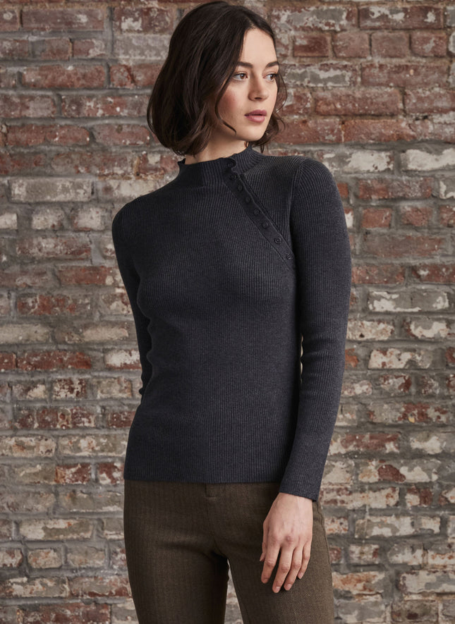 Mock Neck with Button Detail