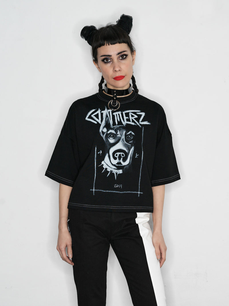 Commerz // Dog crop t-shirt // black
