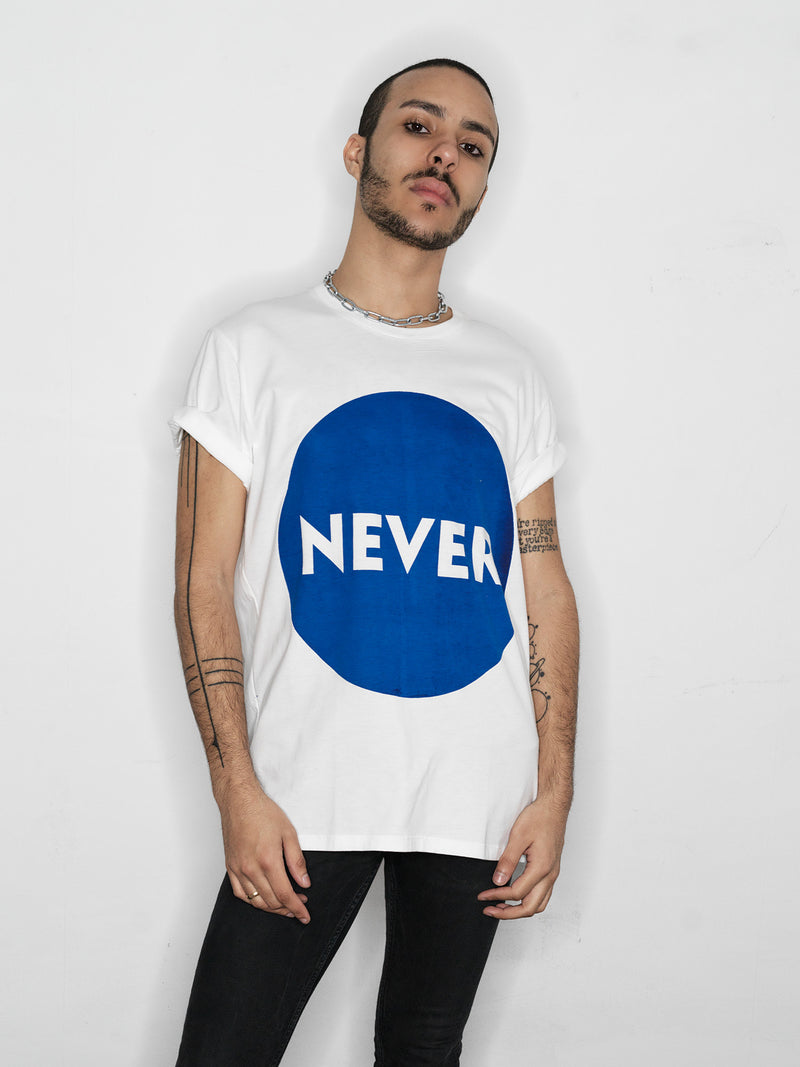 The Publisher // NEVER t-shirt // white