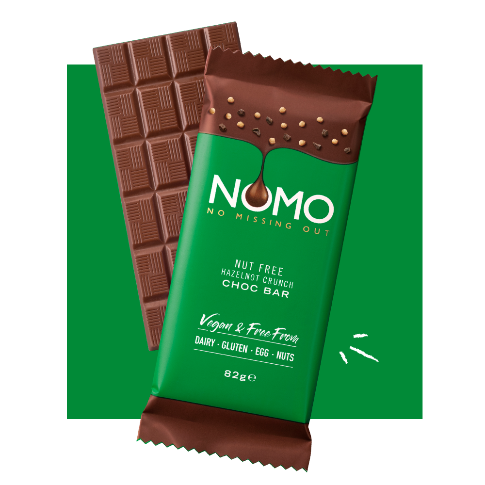 Hazelnot Crunch Choc Bar, VEGAN & FREE FROM DAIRY, GLUTEN, EGG & NUTS