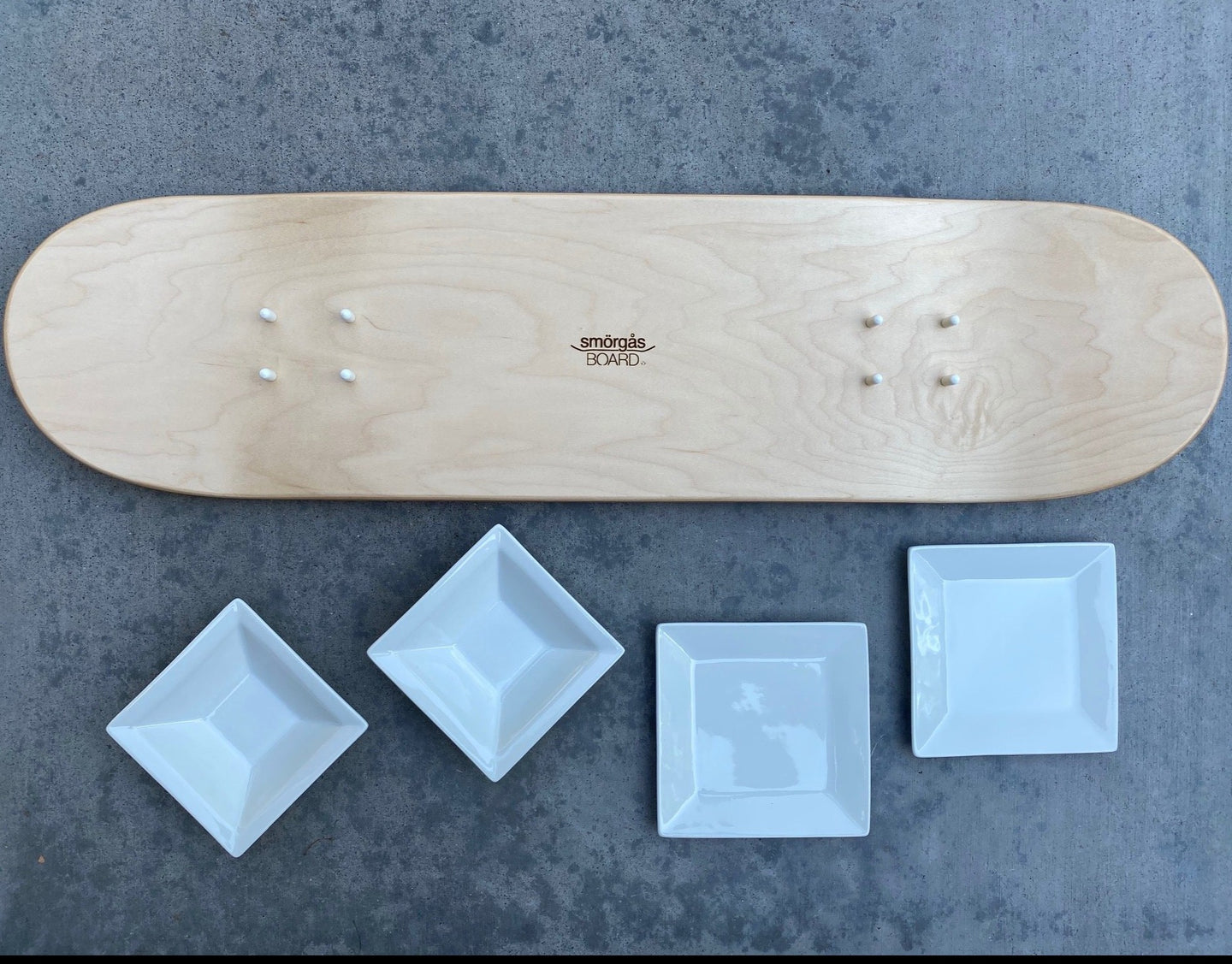 Skateboard Serving Tray- 2 BOWLS, 2 PLATES