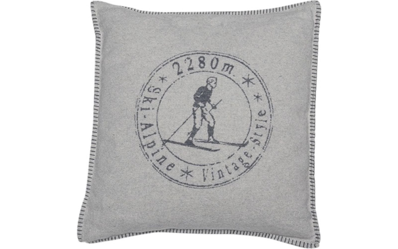 Vintage Skier Pillow Cover | Grey