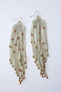 Elegant Earrings Beige and Gold
