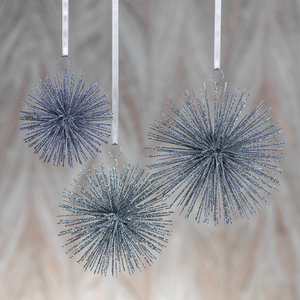Star Burst Ornaments | Silver