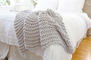Extra Chunky Knit Throw Taupe