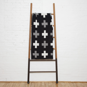 Black + White Swiss Cross Throw