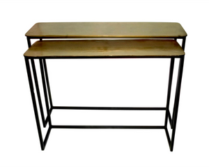 Raw Brass and Iron Console Tables
