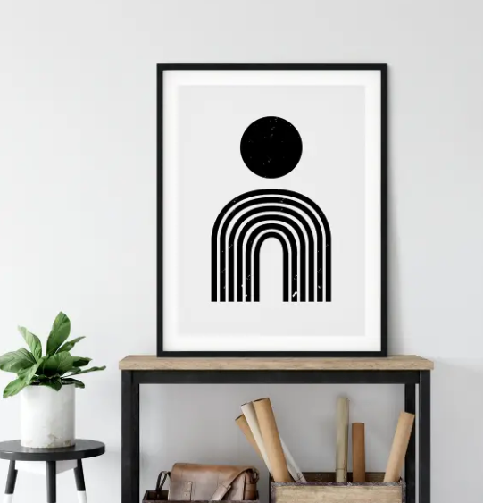 Black + White Geometric Art Print