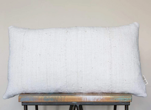 White Mudcloth Pillow 14x22