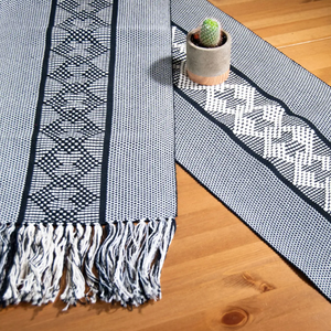 Handwoven Table Runner | Black + White