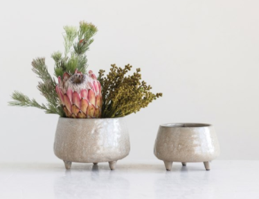 Footed Stoneware Planter | Small