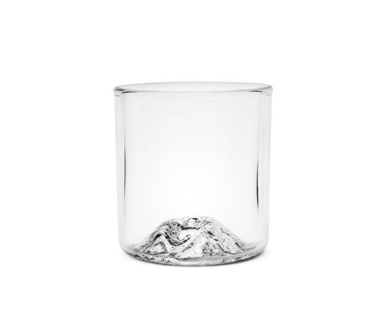 Handblown Tumbler featuring a topo mould of Mt. St. Helens in the base.
