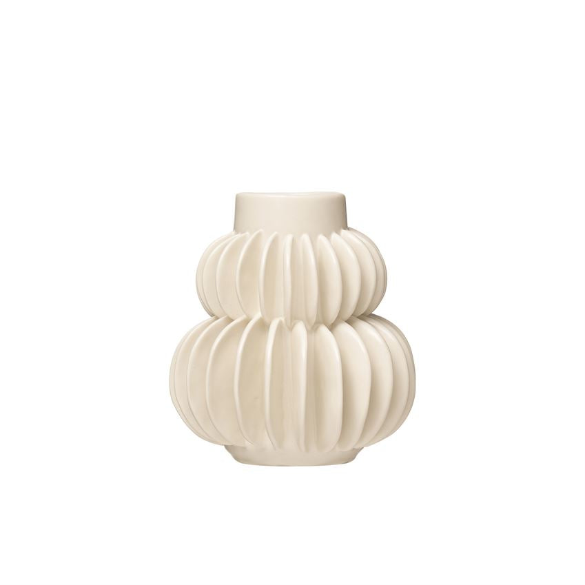 Pleated Stoneware Vase