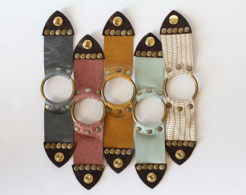 Leather Snap Cuff Bracelet with brass ring accent, brass snaps for closure and a variety of colors.